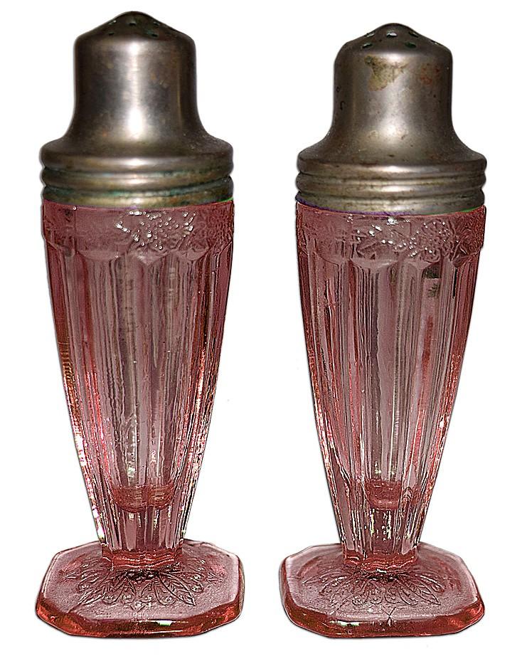 Jeannette Adam Pink Footed Shakers - Original Lids