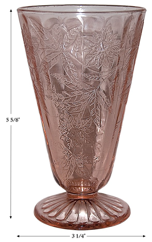 Jeannette Floral Poinsettia Depression Glass Pink Lemonade Tumbler