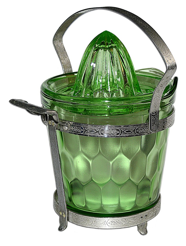 Jeannette Green #X63 Hex Optic Utility Set / Ice Bucket and Reamer Top SOLD