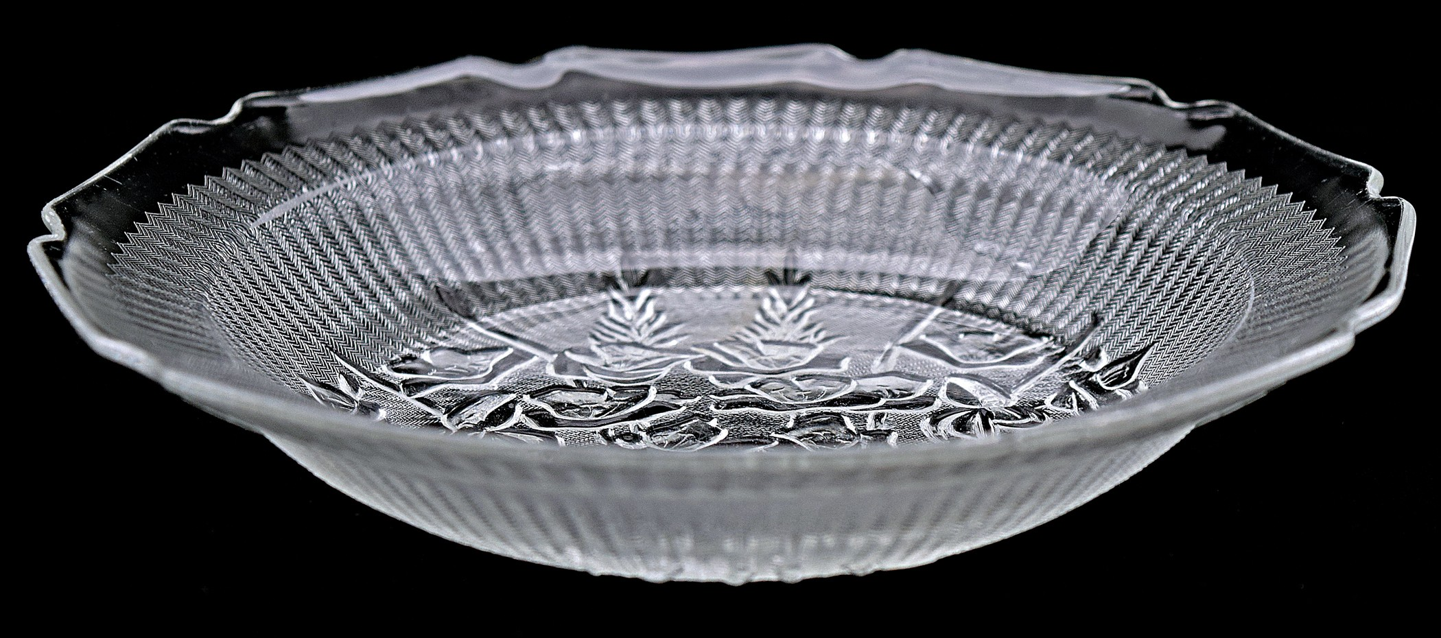 Jeannette Iris Crystal Vintage Hard to Find Flat Soup Bowl