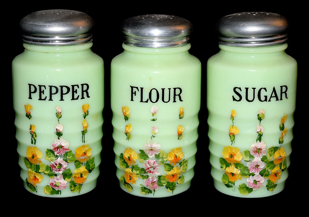 Jeannette Jadite / Jade-ite Ribbed Floral Decorated Flour / Pepper / Sugar Shaker Set RARE
