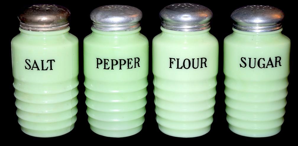 Jeannette Jadite / Jade-ite Ribbed Salt, Pepper, Sugar and Flour Shaker Set - VINTAGE 1930s