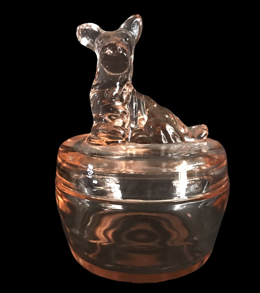 Jeannette Scotty Dog Pink Depression Glass Powder Jar