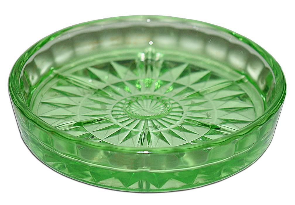Jeannette Windsor Green Depression Glass Coaster