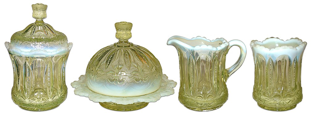 Jefferson Iris with Meander Canary Vaseline Opalescent Table Set, 4 Piece