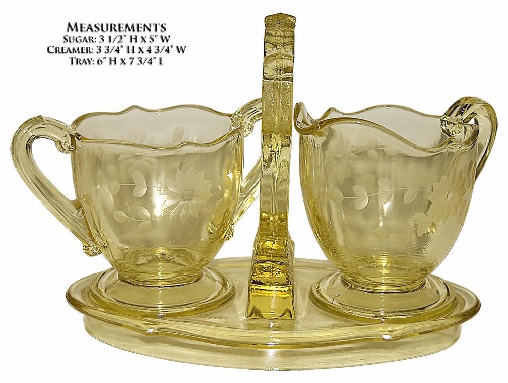 Lancaster Glass Company Yellow Jubilee Sugar / Creamer and Tray