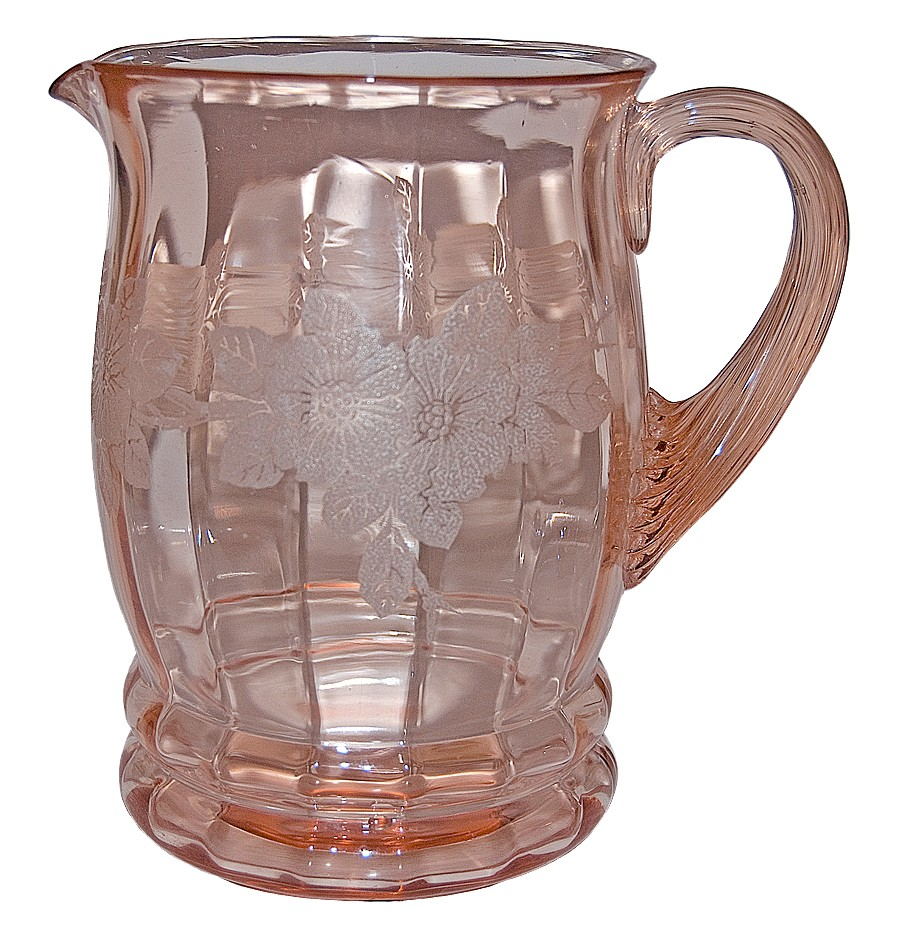 MacBeth Evans Dogwood Pink Screen Etched Pitcher