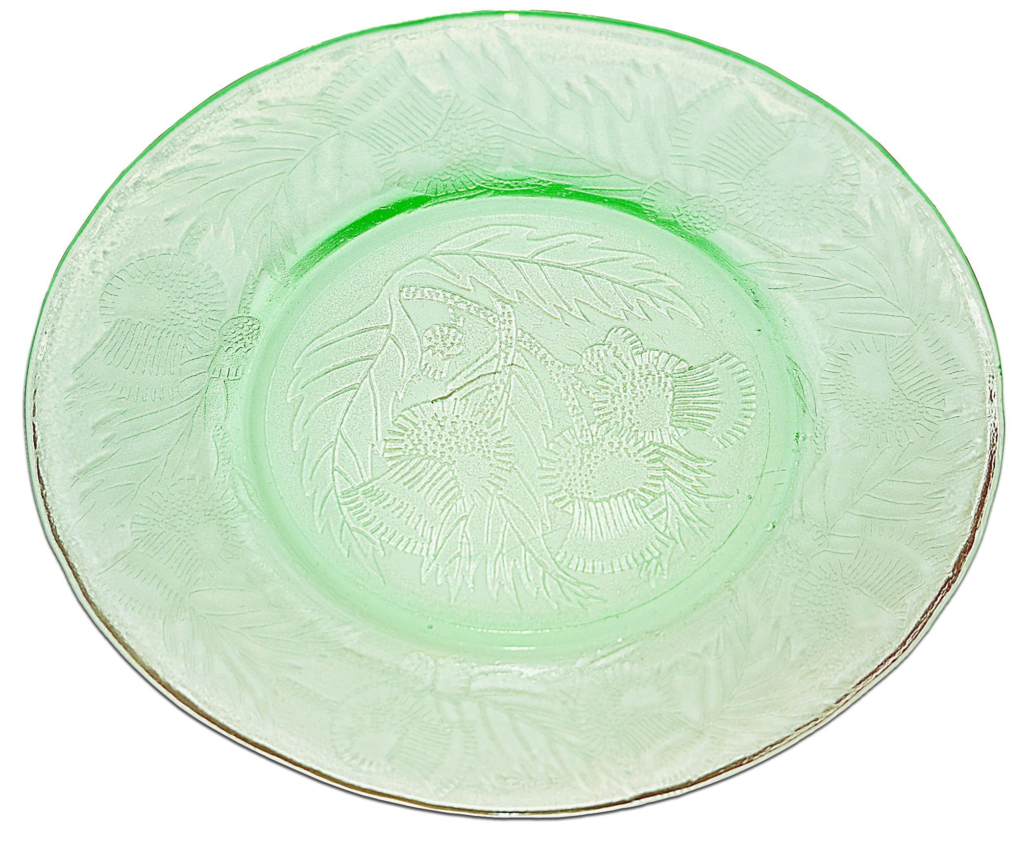 "MacBeth Evans Thistle Green 8"" Luncheon Plate"