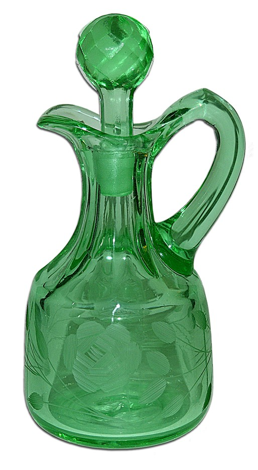 McKee Green Harvard Oil Bottle / Cruet with Faceted Stopper and Rose Wheel Cutting