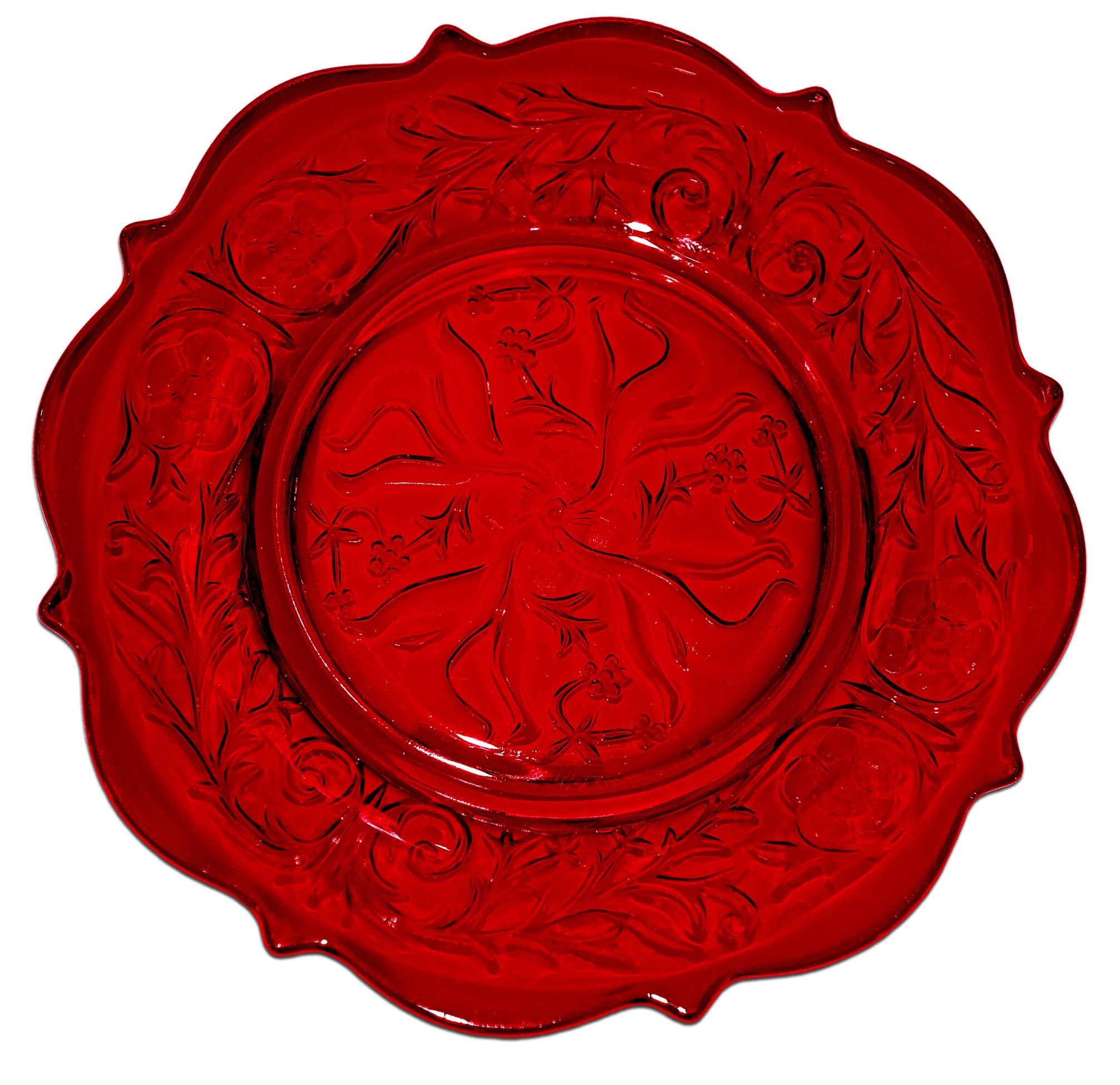 """McKee Rock Crystal  Ruby Red 8 1/2"""" Salad Plate"""