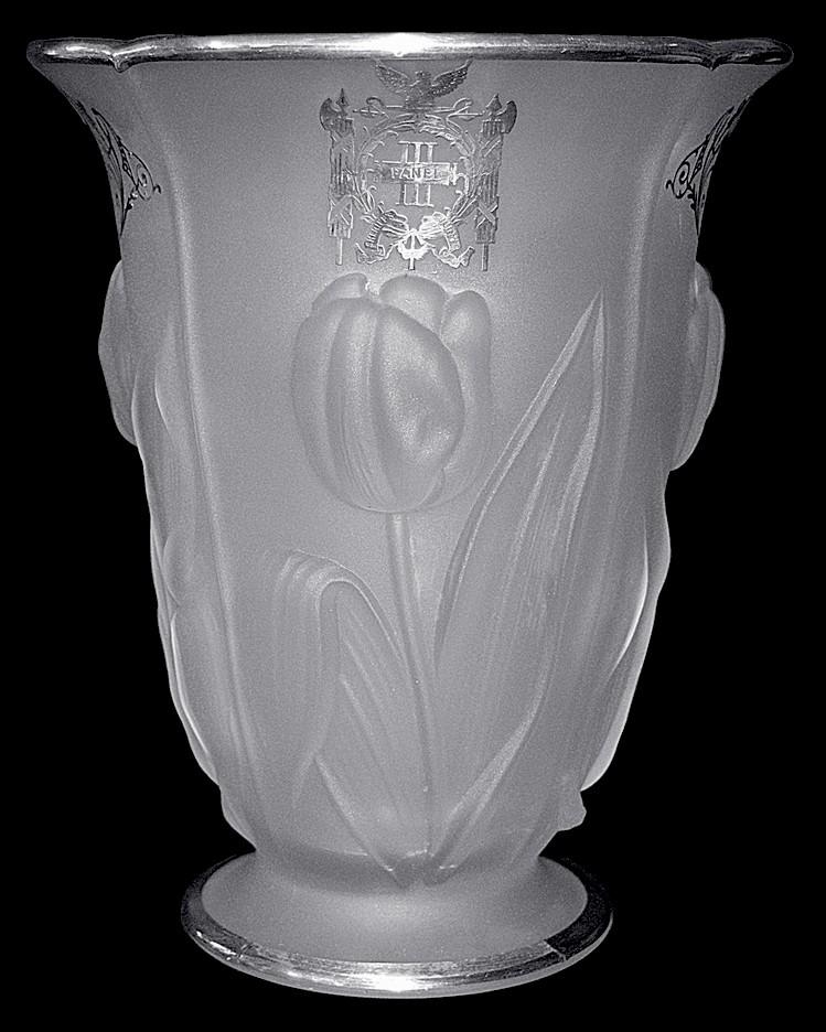 Mckee Tulip Vase Third Panel Sheriffs Jury New York, Sterling Overlay