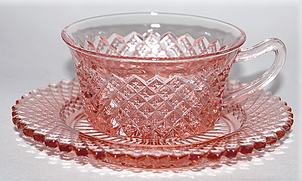 Hocking Miss America Pink Cup and Saucer
