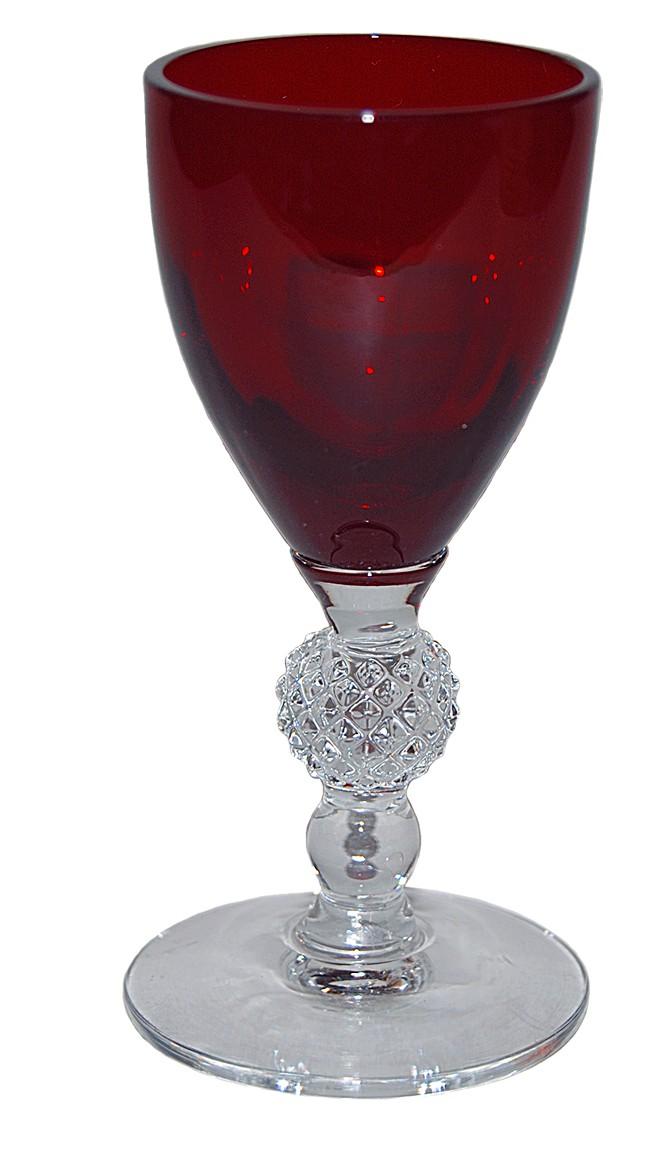 Morgantown Golf Ball Ruby #7643 Cordial Goblet