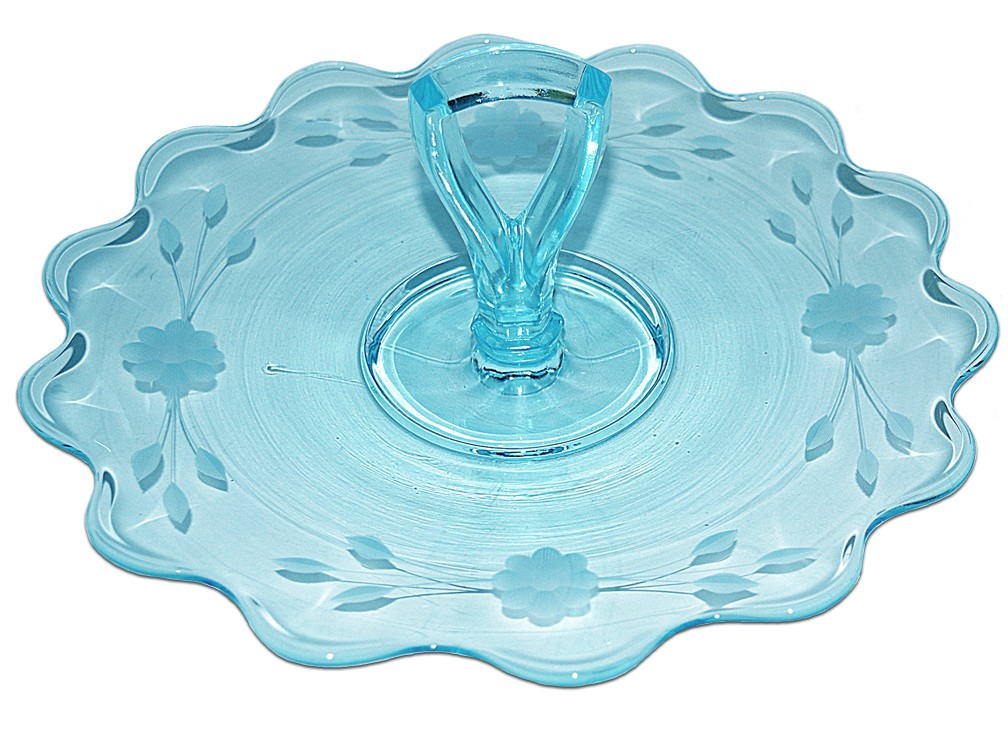 New Martinsville Light Blue Scalloped Wheel Cut Sandwich Tray / Server