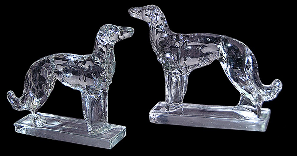 New Martinsville Wolfhound Bookends -- Fantastic