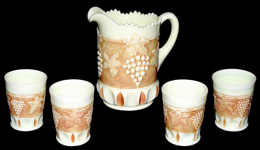 Northwood Grape and Cable Custard Nutmeg Hard to Find Pitcher and 4 Tumblers
