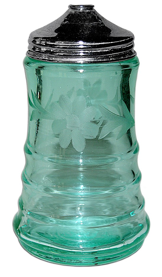 Paden City Blue Green #191 Party Line Green Floral Wheel Cut Depression Glass Sugar Shaker