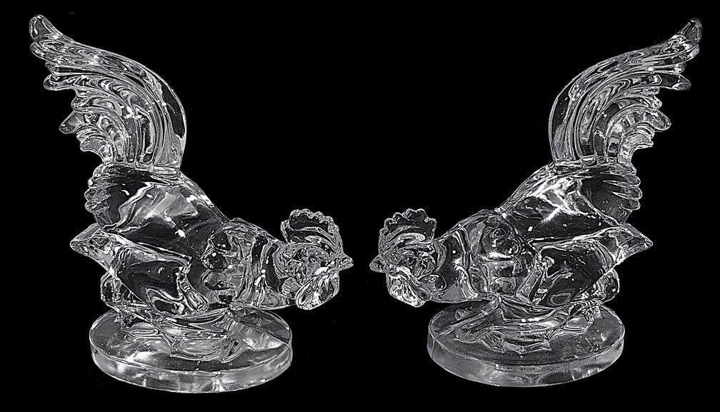 Paden City Crystal Fighting Rooster Bookends - Made for Barth Art