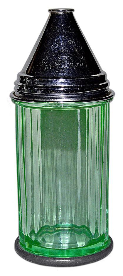 Paden City Green TILT-A-SPOON Depression Glass Sugar Shaker