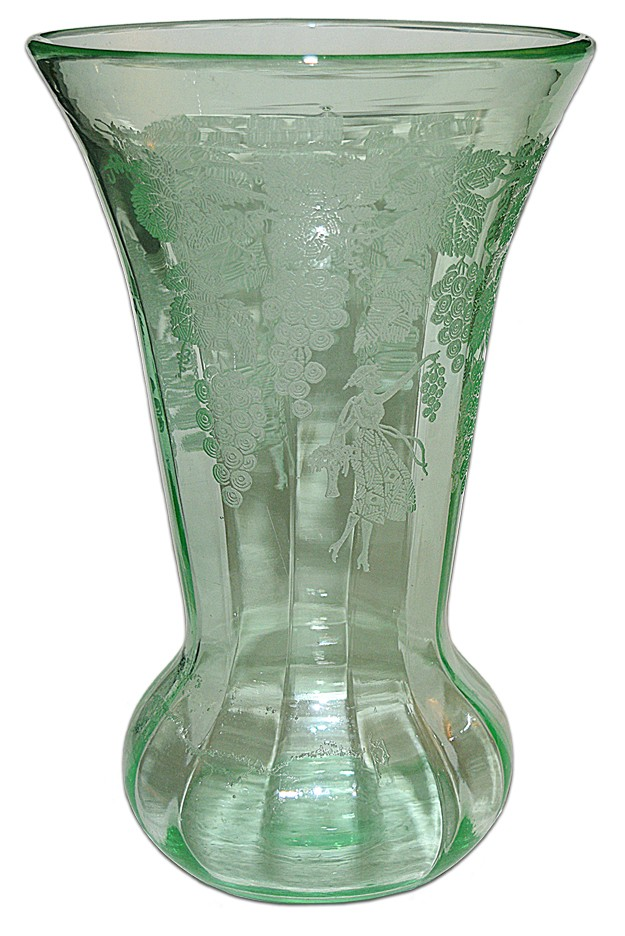 "Paden City Vintager Green No.184-10"" Vase - RARE Deco Lady with Grapes"