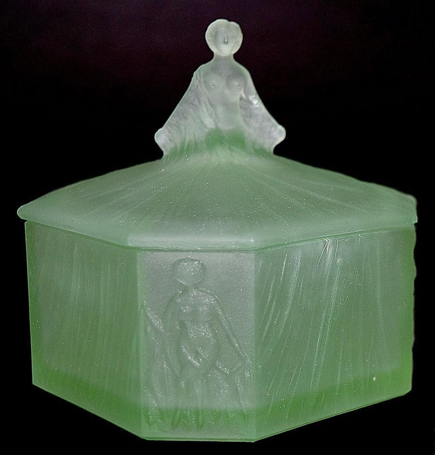 Ramses Roxana Depression Glass Green Satin Powder Jar