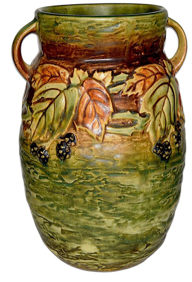 "Roseville Pottery Blackberry # 576-8"" Vase - EXCEPTIONAL"