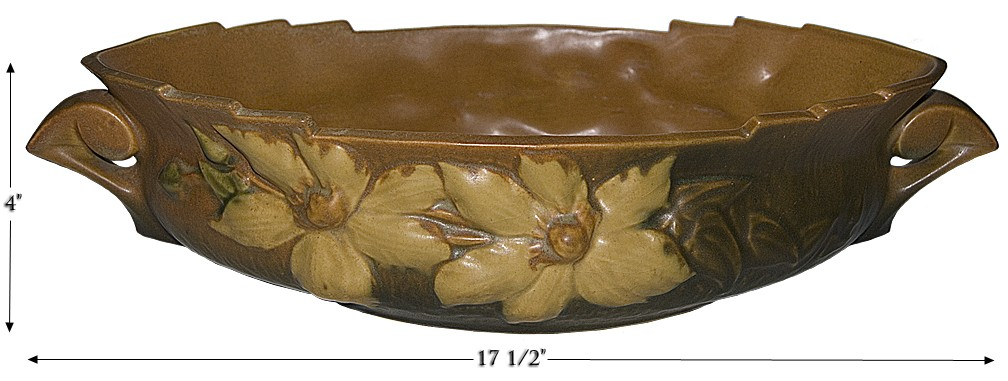 """Roseville Clematis Autumn Brown #461- 14"""" Console Bowl"""