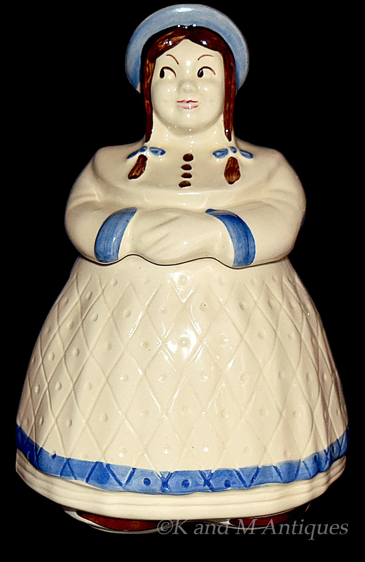 Shawnee Great Northern Dutch Girl Cookie Jar with Blue Trim and Hat DONE