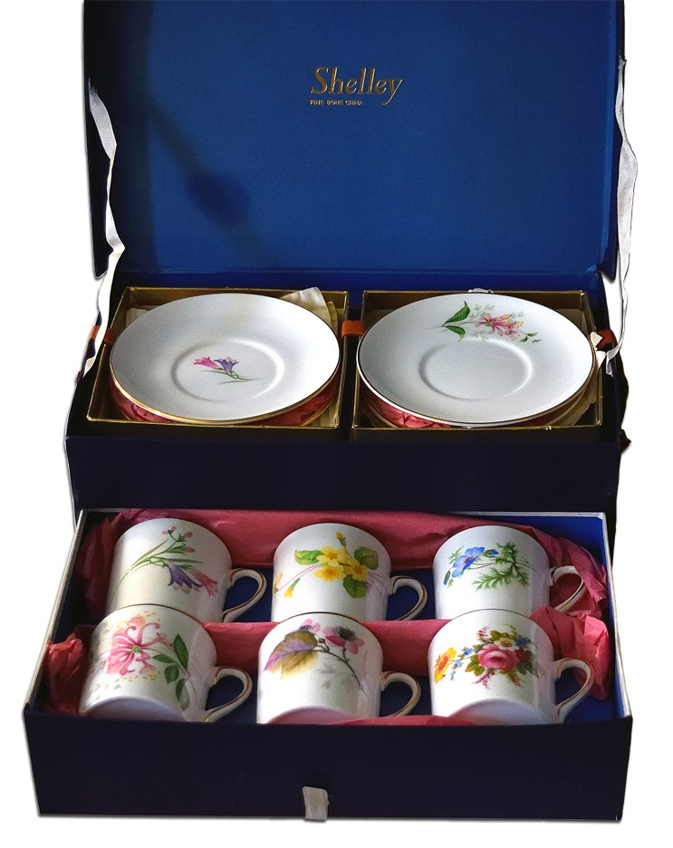 Shelley Mocha Floral Decorated Boxed Set of 6 Cups and Saucers