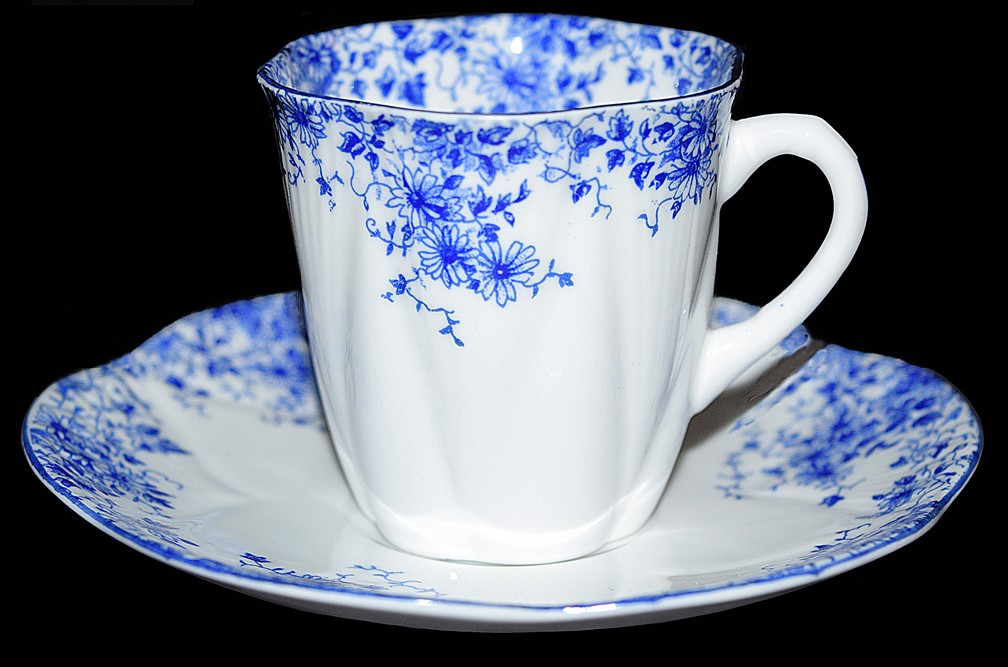 Shelley Dainty Blue Demitasse Cup and Saucer on Dainty Blank