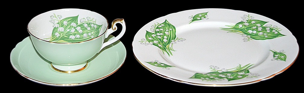 Shelley #14250/53 Lilly of the Valley  LINCOLN TRIO (Cup, Saucer, Luncheon Plate)