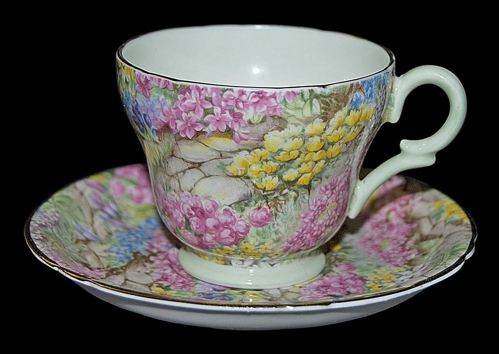 Shelley Rock Garden Demitasse Cup and Saucer