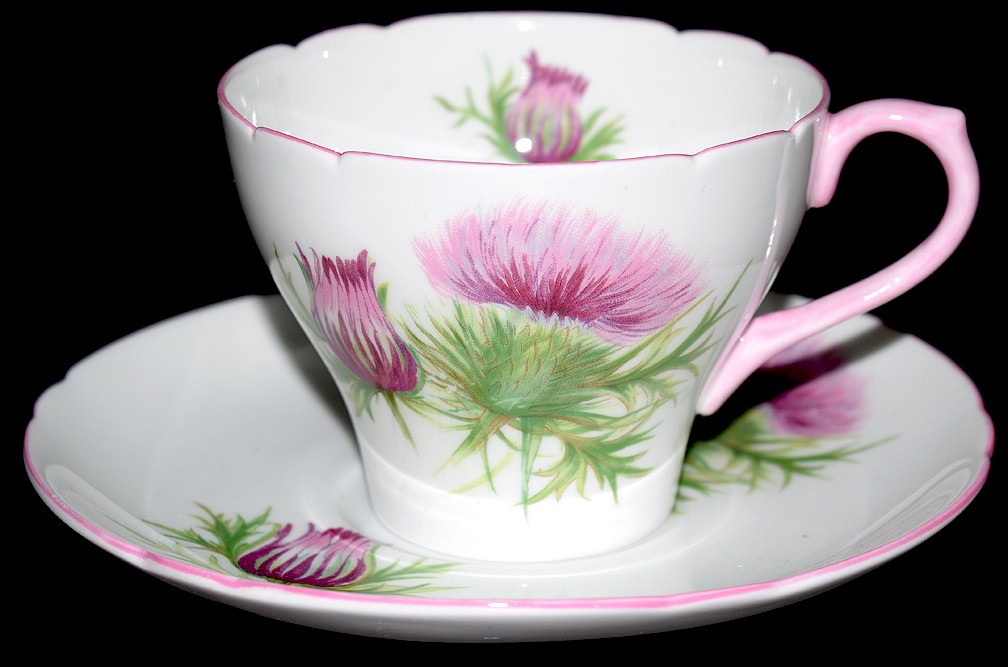 Shelley Thistle New Cambridge Style Cup and Saucer Set  / Light Pink Trim