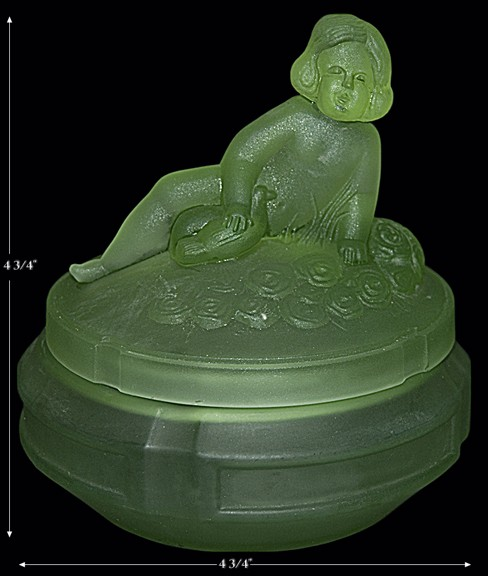 L.E. Smith Cherub Green Satin RARE Powder Jar
