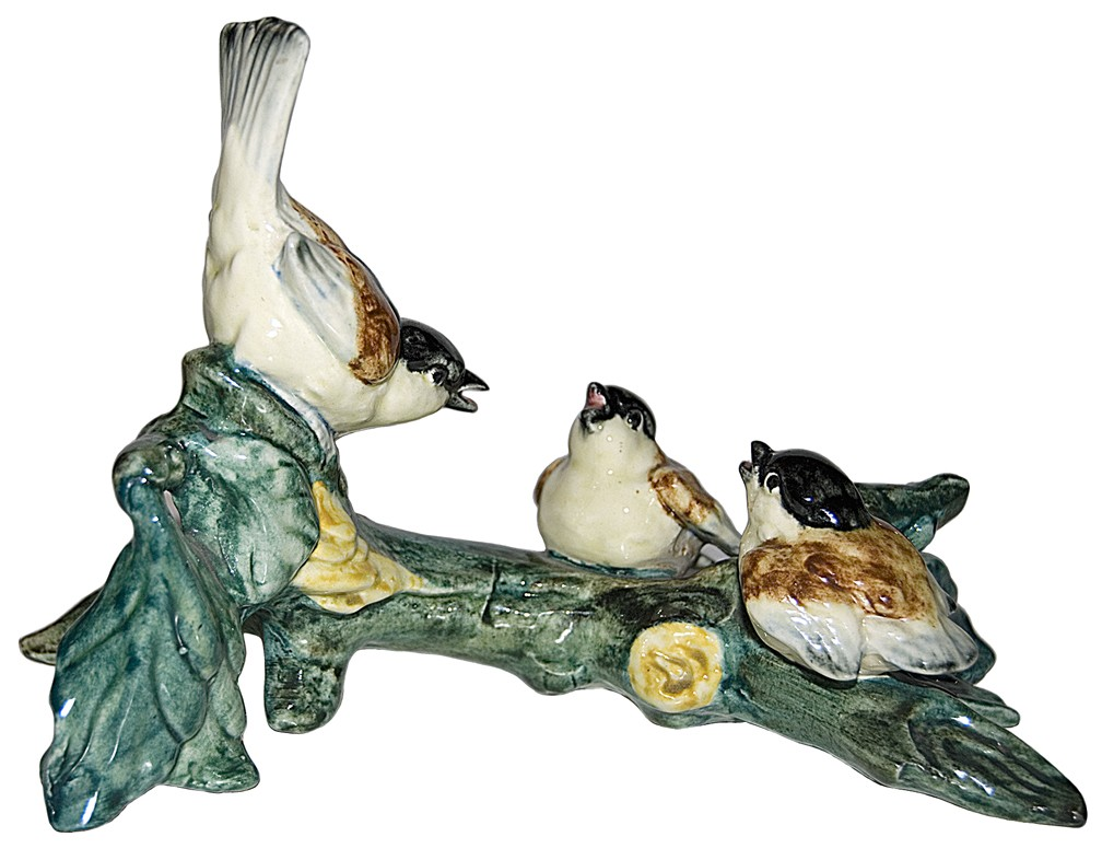 Stangl  #3581 Three Chickadees On A Branch Bird Figure