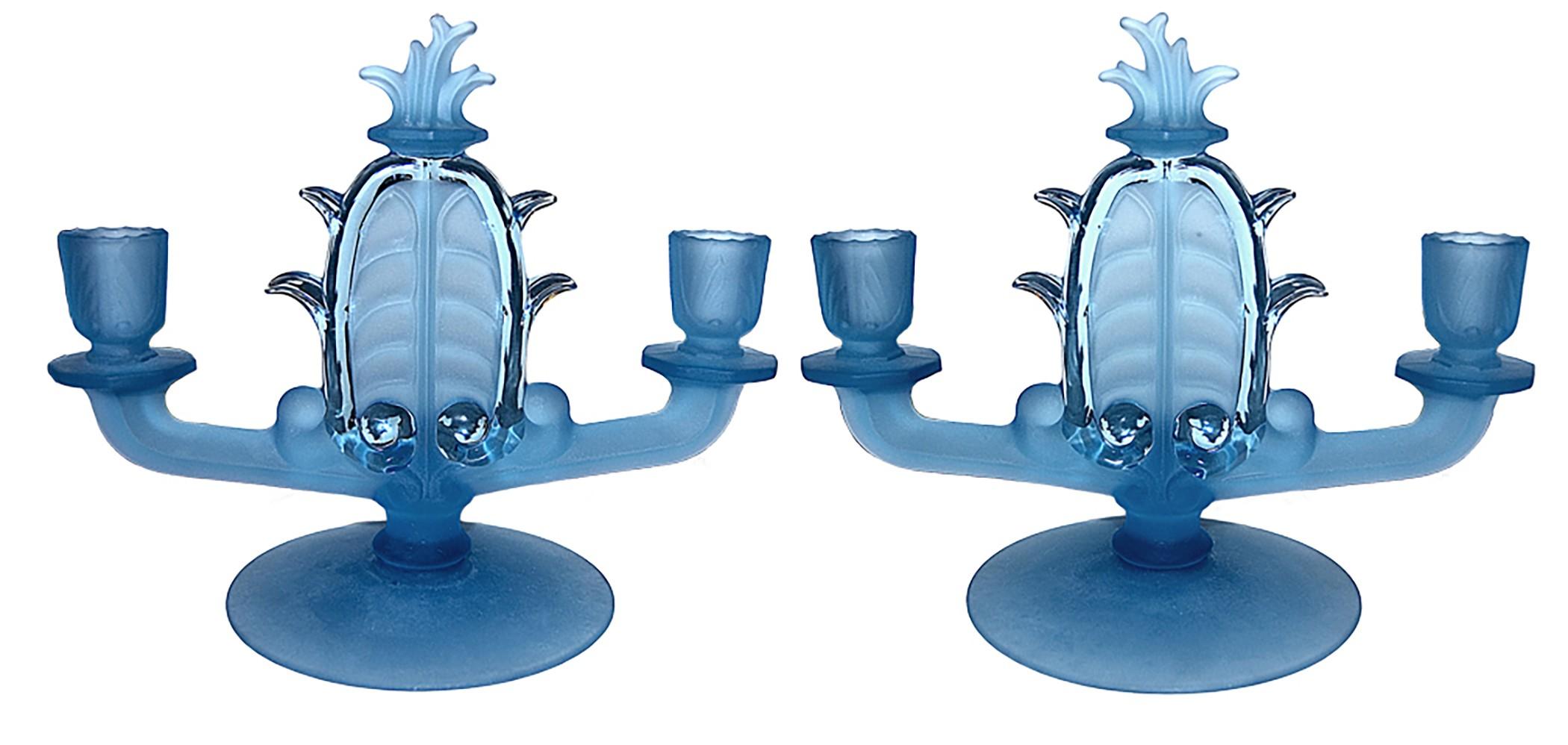 Tiffin Velva Frosty Regal Blue Double Candles / Candlesticks