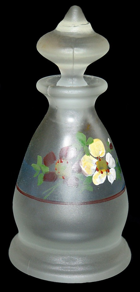 Tiffin / US Glass Crystal Hand Painted Satin #5752 Perfume / Cologne Bottle DONE