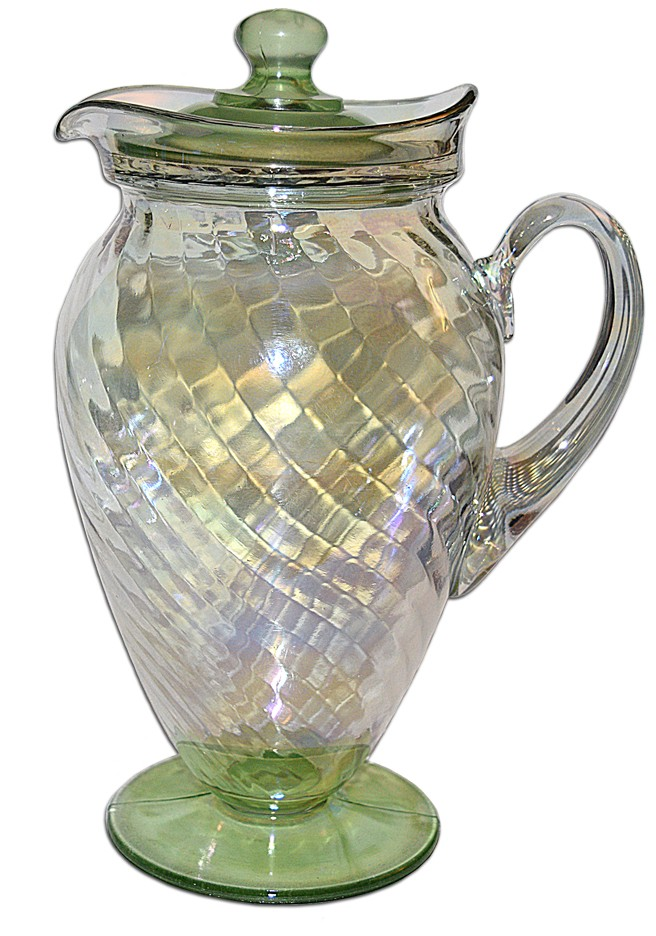 Hocking Green and Crystal Iridescent Spiral Optic Jug / PItcher with Lid