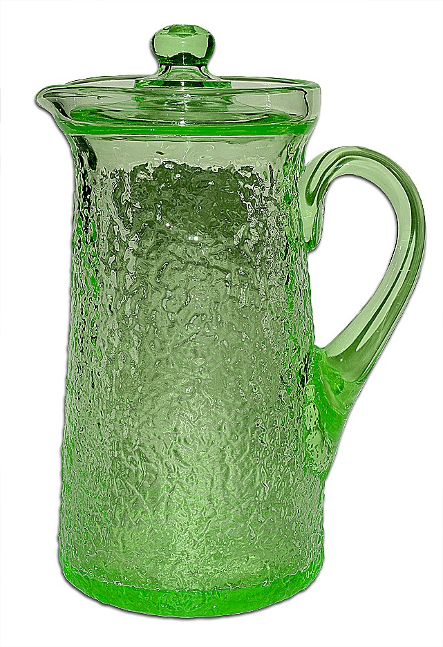 Tiffin / US Glass Green Stippled #6450 Covered Kitchen Ice Tea Jug / PItcher