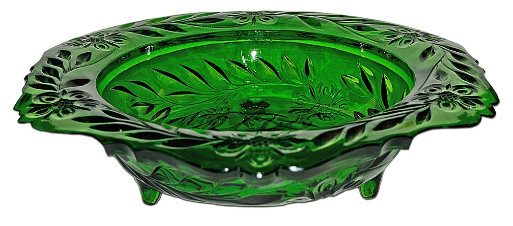 U.S. Glass Footed Emerald Green Floral Pressed Cut Console Bowl - Huge!