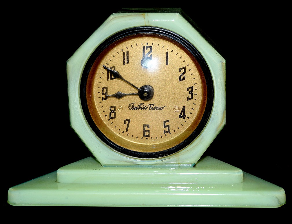 Vidrio Slag Glass Cadillac Electric DECO Time Clock - Super Nice Condition!