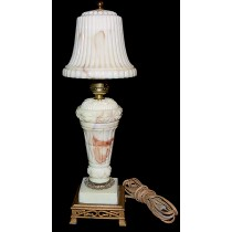 Akro Agate Orange / Brown Fancy Marbelized Lamp with Scarce Glass Shade