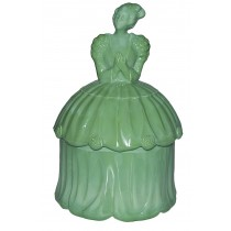 Akro Agate Colonial Lady Green Opaque Powder Jar
