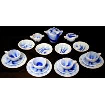 Akro Agate Interior Panel Large Blue Marbleized Child's Set - COMPLETE WITH BOWLS