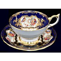 Aynsley Aristocrat Bone China #7700 Cobalt Cup and Saucer / Gold Trim
