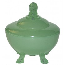 Beaumont Jester Jadite Powder Jar with Three Feet
