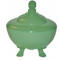 Beaumont Jester Jadite Powder Jar with Three Feet*