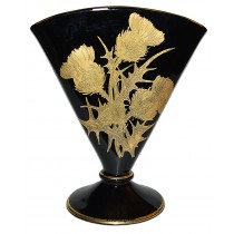 Central Glass Works Deco Black and Gold Thistle Fan Vase