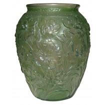 "Consolidated La Fleur / Poppy Green Wash 10"" Vase - Enormous!"