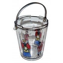 Dunbar / West Virginia Glass / Crystal Deco Ice Bucket with Tongs & Dutch Figure